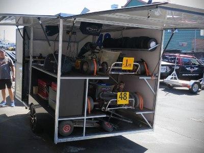 go-kart transport on a large trailer