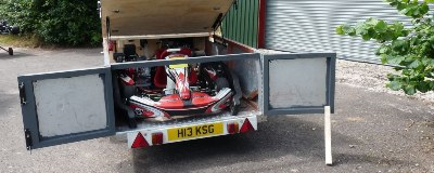 go-kart transport on a small trailer