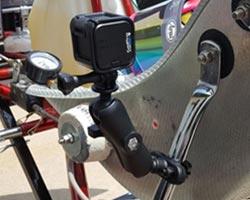 GoPro mounted on go-kart frame and strut