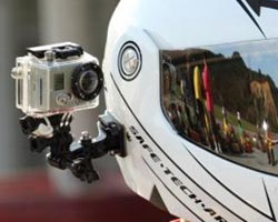 GoPro mounted on karting helmet
