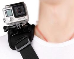 GoPro mounted on shoulder