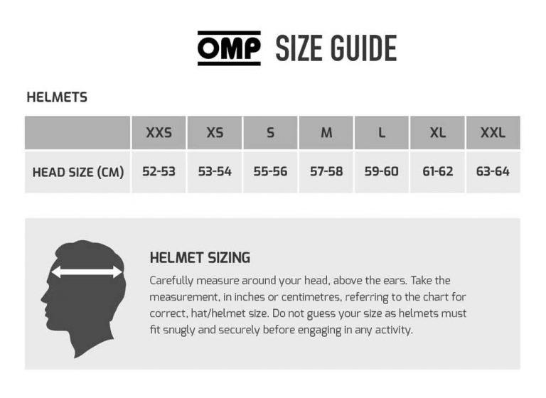 omp helmet size chart