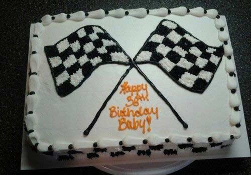 go-kart checkered flag cake