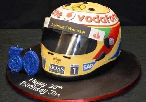 go-kart cakes with karting helmet