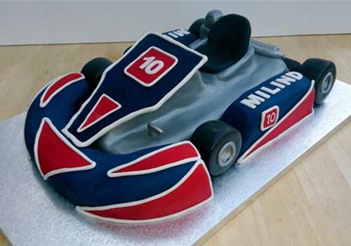go-kart birthday cake with go-karts