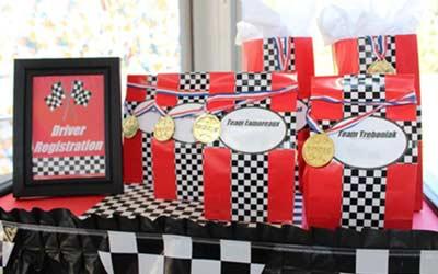 go-kart birthday goody bag