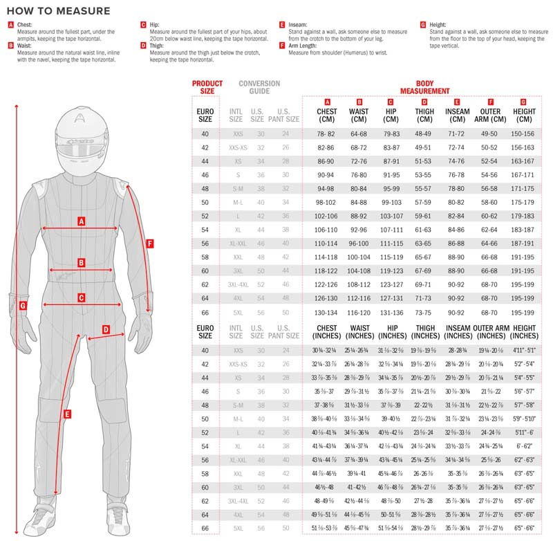 KMX-9 V2 SUIT size chart