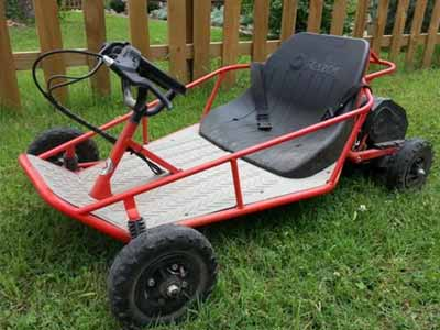 Electric go-kart with steel frame