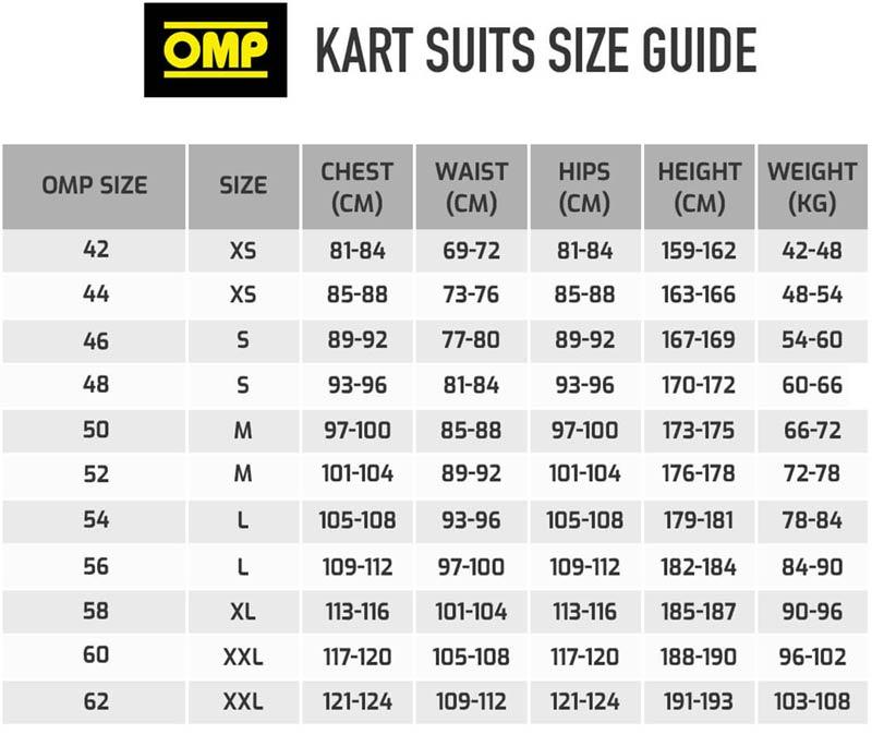 omp summer k size chart