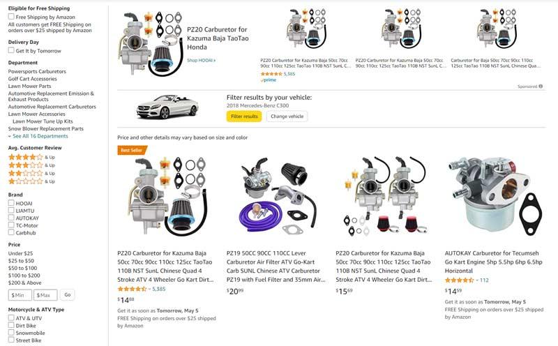 buying go-kart parts on amazon