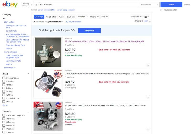 buy go-kart parts on ebay