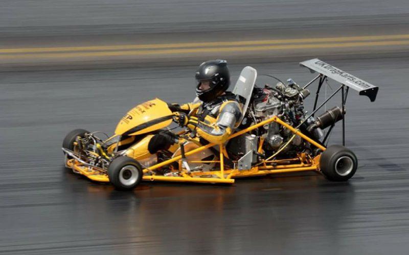 drag racing go-karts on a drag strip